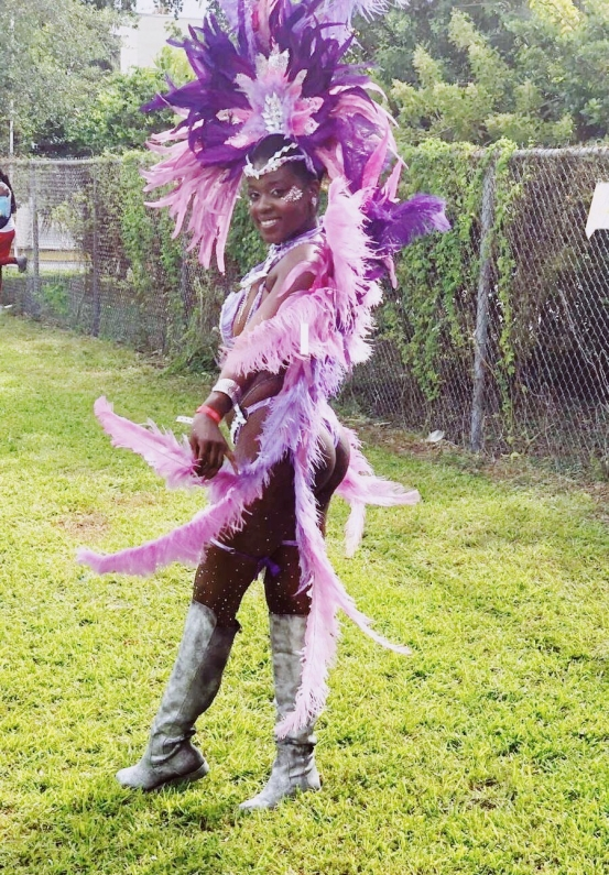 Me in my purple, rhinestoned mas costume